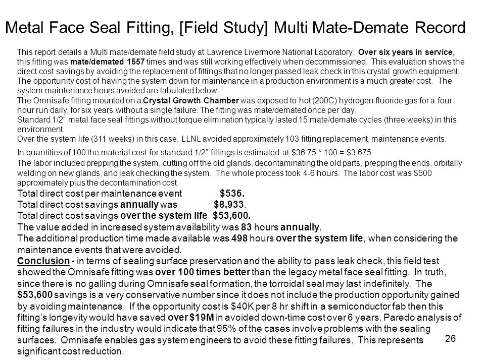 Metal Face Seal Fitting, [Field Study] Multi Mate-Demate Record